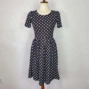 LuLaRoe Polka Dot Amelia Dress with Pockets, S